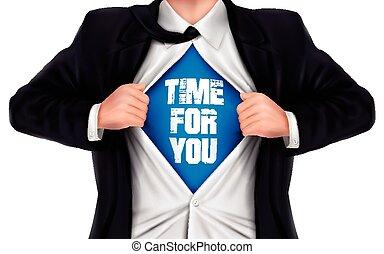 idő, üzletember, ing, kiállítás, övé, alul, szavak, ön