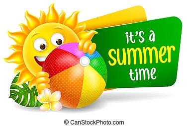 idő, betű, jókedvű, karikatúra, bemond, nyár, nap