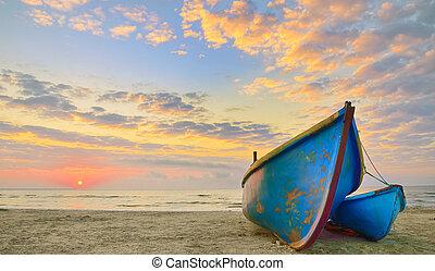 idő, csónakázik, napkelte