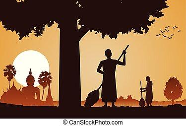 idő, halánték, kitakarít, napnyugta, fa, gyakorlat, alatt, terület, tervezés, szerzetes, lelkész, árnykép