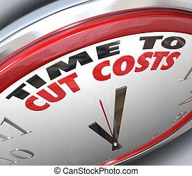 idő, költés, csökkent, kiadások, költségvetés, elvág, alacsonyabb