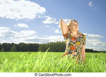 idő, nő, fiatal, nyár, mező, gyönyörű