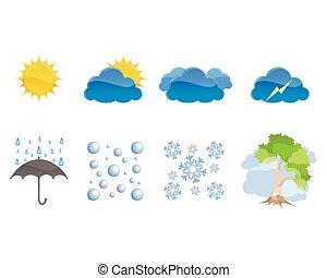 időjárás, állhatatos, ikonok