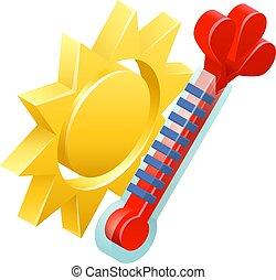 időjárás, nap, fogalom, ikon, lázmérő