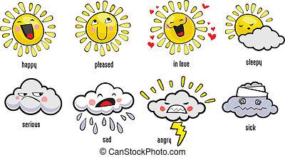 időjárás, színes, ikonok
