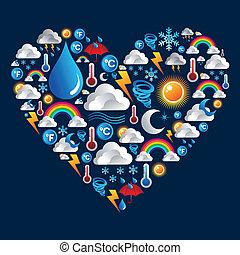 időjárás, szív alakzat, állhatatos, ikonok