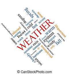időjárás, szögletes, fogalom, szó, felhő