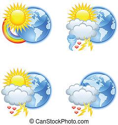 időjárás, szeret, ikonok
