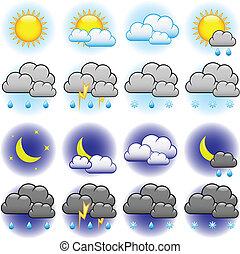 időjárás, vektor, ikonok