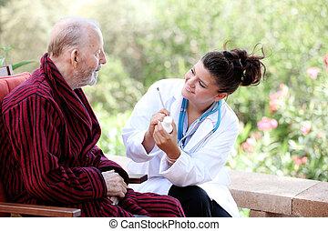 idősebb ember, ápoló, ember, vagy, orvos