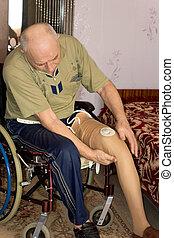 idősebb ember, alkalmas, ember, prosthetic hazardőr