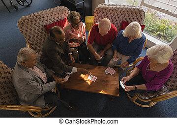 idősebb ember, barátok, otthon, kártya, csoport, gondozás, játék