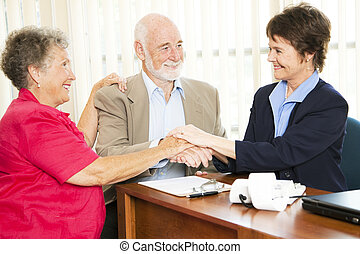 idősebb ember, csoport, ügy, kézfogás