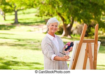 idősebb ember, festmény, nő, liget