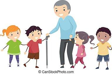 idősebb ember, gyerekek, stickman, ábra, ember