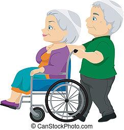 idősebb ember, hölgy, tolószék, öreg, párosít