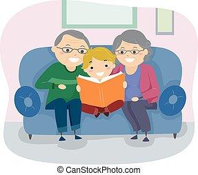 idősebb ember, könyv, stickman, párosít, kölyök