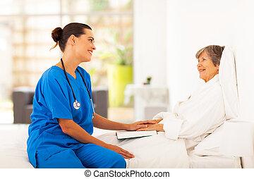 idősebb ember, látogató, türelmes, ápoló, barátságos