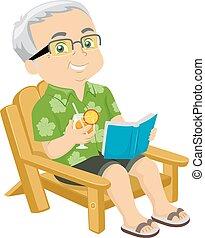 idősebb ember, napozószék, ember