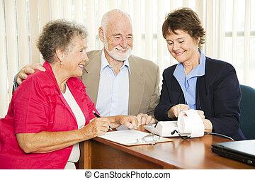 idősebb ember, -, pénzel, ügy