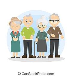 idősebb ember, set., emberek