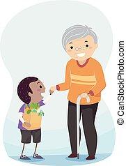 idősebb ember, stickman, segítség, ábra, kölyök