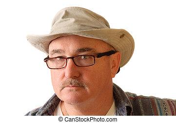 idősebb, kalap, ember