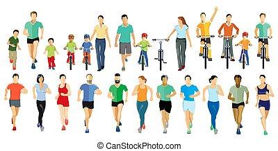 időz, emberek, futás, kerékpározás, sports-.eps