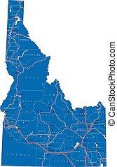 idaho, politikai, térkép, állam