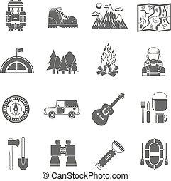 idegenforgalom, fekete, ikonok