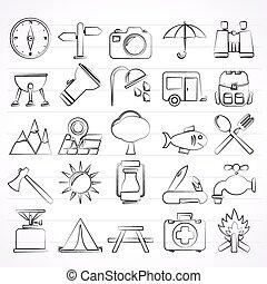 idegenforgalom, kempingezés, ikonok