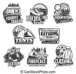 idegenforgalom, kempingezés, természetjárás, utazás, kayaking, ikonok
