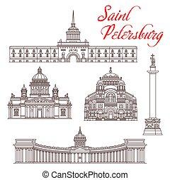 idegenforgalom, landmarks., szent, utazás, petersburg, orosz