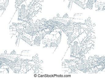 idegenforgalom, sketching., seamless, művészet, illustration., egyenes, card., silhouette., concept., vektor, luxembourg., város, utazás, pattern.