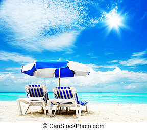 idegenforgalom, sunbed, concept., tengerpart szünidő