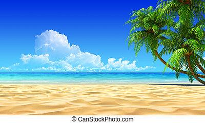 idillikus, horgonykapák, tropikus, homok tengerpart, üres