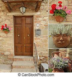 idillikus, olaszország, kollázs, bejárati ajtó