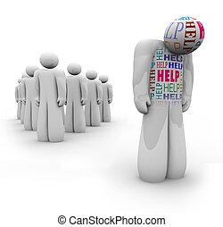 igények, segítség, segítség, -, bús, személy, egyedül