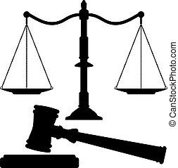 igazságosság, árverezői kalapács, vektor, mérleg