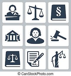 igazságosság, törvény, állhatatos, vektor, ikonok
