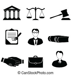 igazságosság, törvény, jogi, ikonok