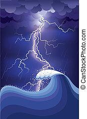 ightning, rain., ábra, behálóz, óceán, csap, vektor, megrohamoz