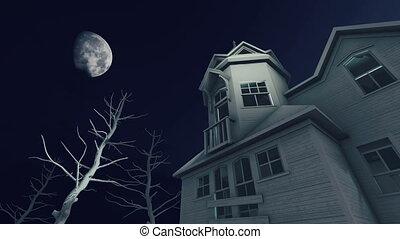 ijedős, épület, hold, kísértetjárta, 4k, éjszaka