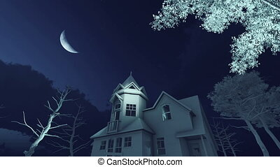 ijedős, öreg, épület, kísértetjárta, 4k, éjszaka