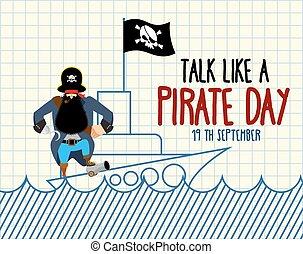 ijedős, szeret, festett, day., jegyzetfüzet, hook., nemzetközi, buccaneer., hajó, kalóz, beszél, filibuster