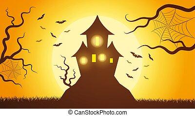 ijedős, varázslatos, ég, fény, tető, mindenszentek napjának előestéje, ellen, sötét, fényes, erdő, meghívás, bástya, moon., hegy, megvilágít