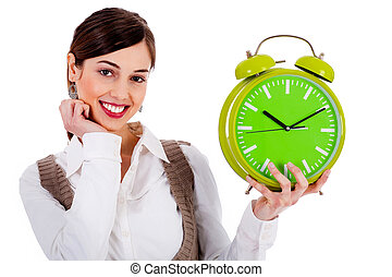 ijedtség, hölgy, birtok, óra