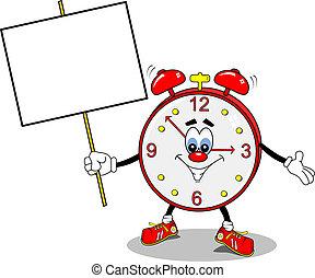 ijedtség, karikatúra, óra