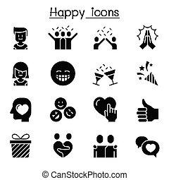 ikon, ábra, vektor, grafikus, boldog, tervezés, állhatatos