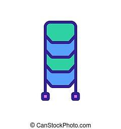 ikon, álló, lépcsőház, áttekintés, vektor, ábra